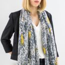 Personalised Mustard And Grey Bird Print Scarf