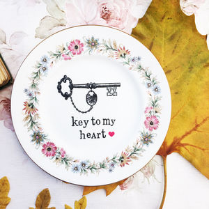 'Key To My Heart' Upcycled Vintage Tea Plate