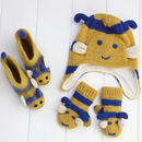 Unisex Blue And Yellow Bumblebee Knit Three Piece Set