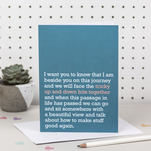'Tricky Up And Down Bits Together' Card - sympathy & sorry cards