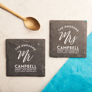 Personalised 'Mr And Mrs' Slate Coasters - wedding gifts