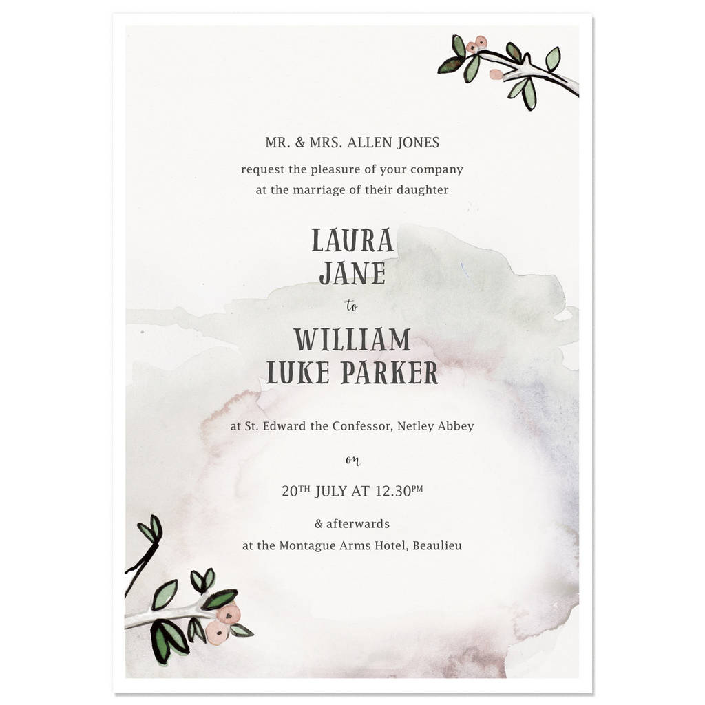 hazy woodland wedding invite sample by hollyhock lane ...