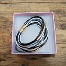 Leather Multi Cord Bracelet Black And Gold