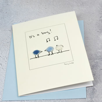 New Baby Card With Fluffy Birds In Blue