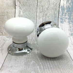 White Mortice Ceramic Doors Knobs Set Entrance Doors - home accessories