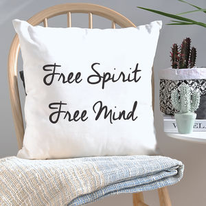 Typography Free Spirit Free Mind Cushion - cushions