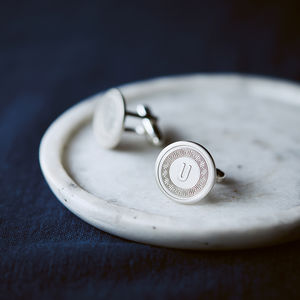 Personalised Silver Secret Message Initial Cufflinks - gifts for him