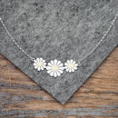 Daisy Trio Necklace In Solid Silver And 18ct Gold