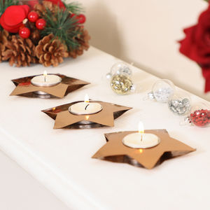 Set Of Six Hand Hammered Copper Tealight Holders