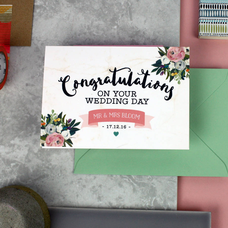 Congratulations On Your Wedding Day.Personalised Congratulations On Your Wedding Day Card By Love