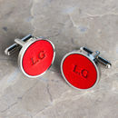 Personalised Coloured Leather Cufflinks