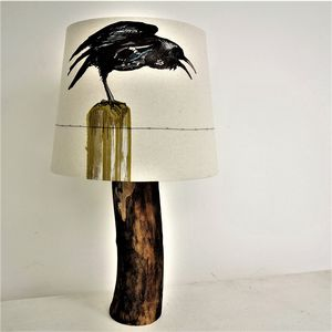 Crow On A Wire Handmade Lampshade
