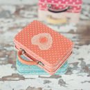 Orange Polka Dot Tin Suitcase