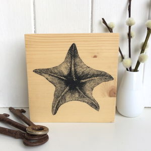 Vintage Starfish Illustration Print On Wood