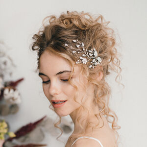 Silver Crystal And Freshwater Pearl Hair Vine Ella