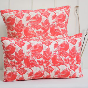 Bullfinches And Berries Block Printed Cotton Cushions - cushions