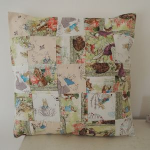 Handmade Patchwork Beatrix Potter Cushion Cover