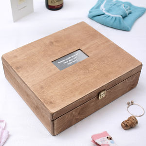 Personalised Antiqued Christening Memory Box - children's storage