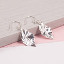 Silver Crinkle Leaf Earrings