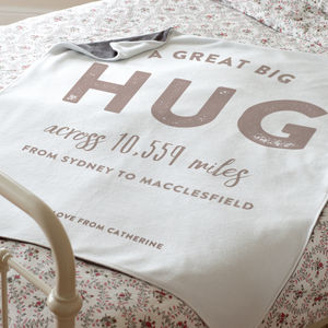 Personalised 'Hug Across The Miles' Luxury Blanket - blankets & throws