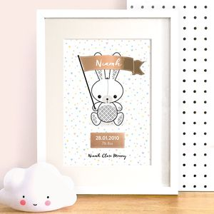 Personalised Bunny Baby Name Print With Rose Gold Foil