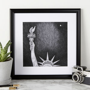 Statue Of Liberty Illustration Print - posters & prints