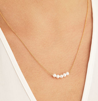 Delicate Silver Rose Or Gold Pearl Cluster Necklace