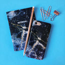 Navy Marble iPhone Case And Notebook