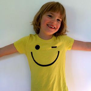 Smiley Face Wink Children's T Shirt - clothing