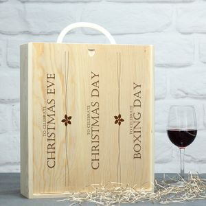 Three Bottle Christmas Wine Box