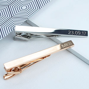 Rose Gold Or Silver Personalised Tie Clip - personalised jewellery