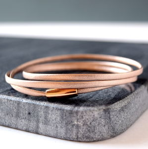 Rose Gold Leather Wrap Around Bracelet