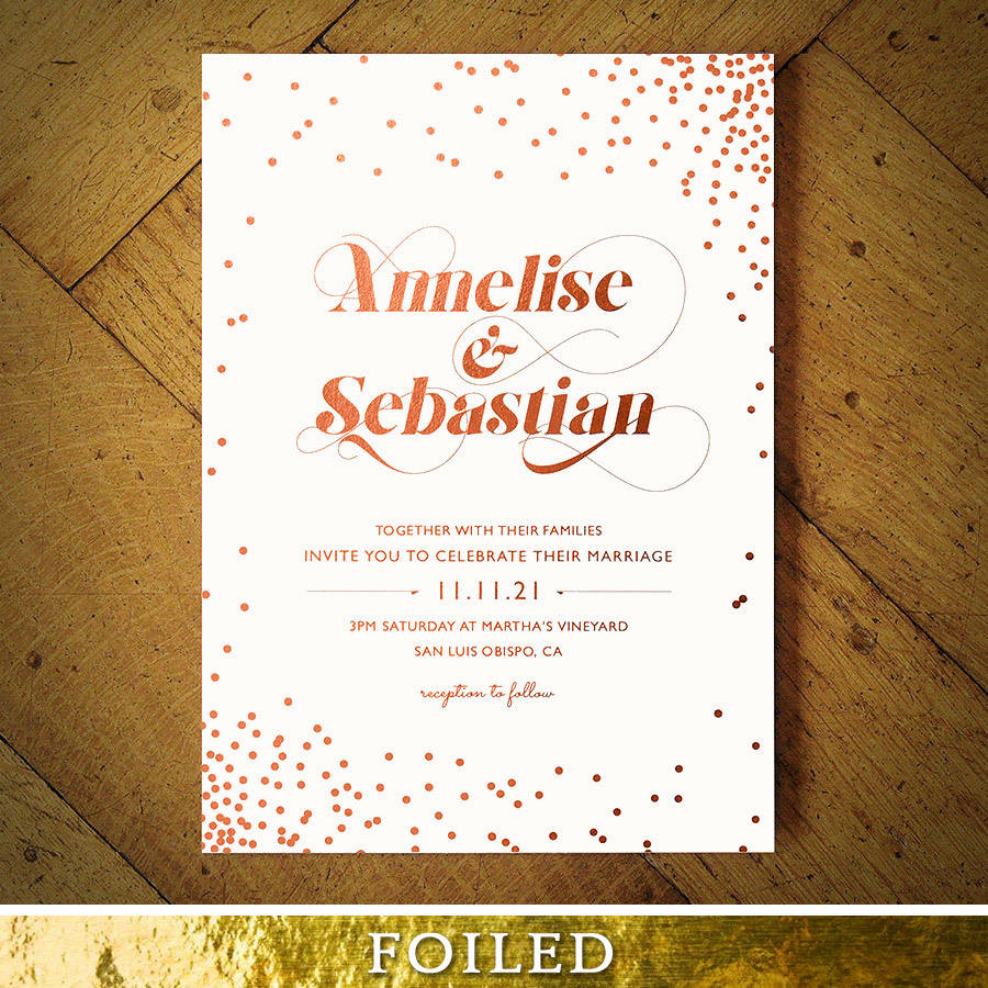 celestial rose gold foil wedding invitation by feel good wedding