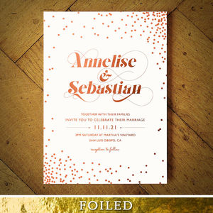 Celestial Rose Gold Foil Wedding Invitation - wedding stationery