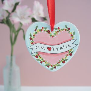 Little Valentines Gift, Personalised Heart Decoration - gifts for her