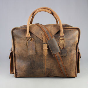 Extra Large Travel Bag In Waxed Leather