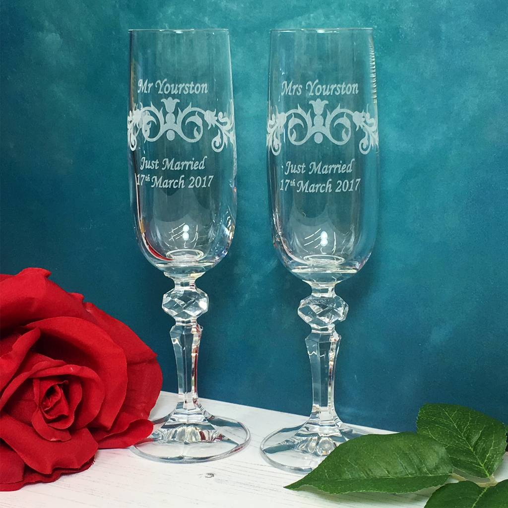 personalised wedding champagne flutes by laser made. Black Bedroom Furniture Sets. Home Design Ideas
