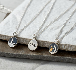 Personalised Silver Initial Necklace With Hidden Image