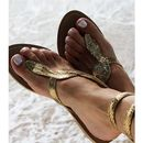 Gold Cobra Flat Leather Ankle Wrap Sandals