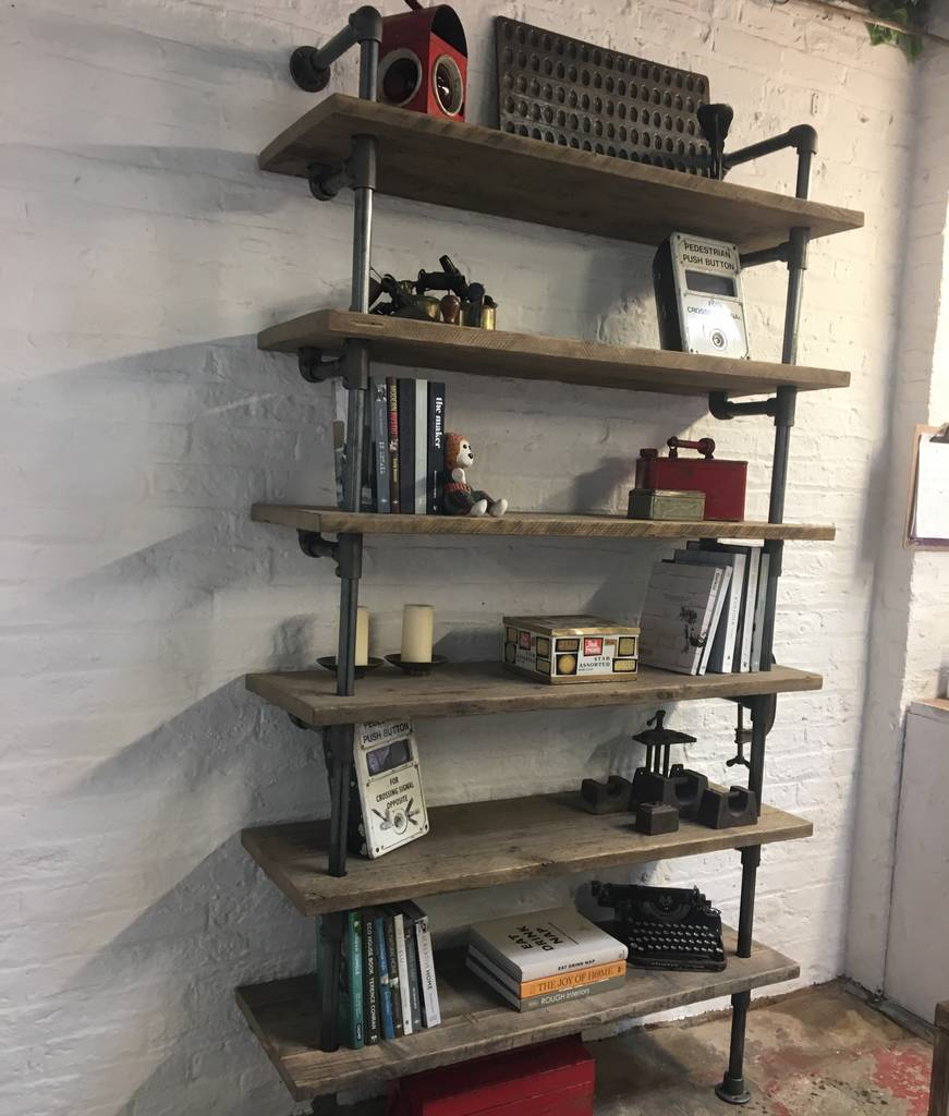 Annabel Bespoke Reclaimed Scaffolding And Pipe Bookcase