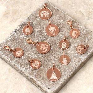 Personalised Rose Gold Boho Symbol Disc Charms