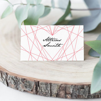 Geometric Heart Wedding Place Cards Pack 10