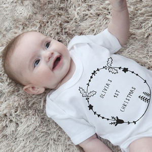 Personalised 1st Christmas Bodysuit - babygrows