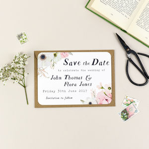 Blush Floral Wedding Save The Date