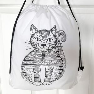 Drawstring Bag To Colour In With Cat