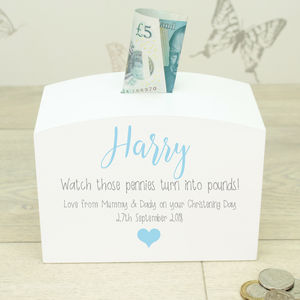 Personalised White Wooden Christening Money Box