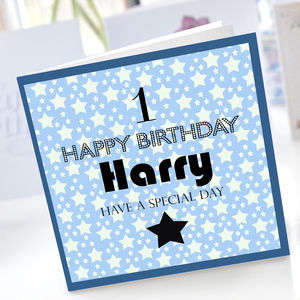 Boys 1st Birthday Star Card - birthday cards
