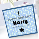 Boys 1st Birthday Star Card