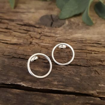 Large Open Circle Studs In Sterling Silver
