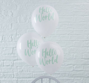 White And Mint Green Hello World Baby Shower Balloons